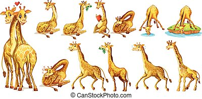 Set of giraffe in different actions illustration