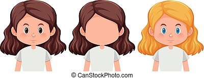 Set of girl different hairstyle