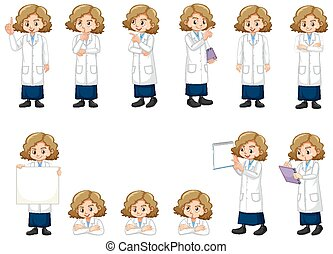 Set of girl in lab gown doing different acts