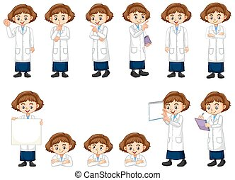 Set of girl in science gown doing different acts