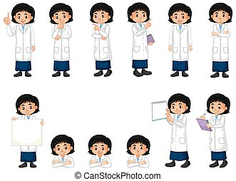 Set of girl in science gown doing different poses on white background