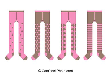 Set of girl tights with different designs