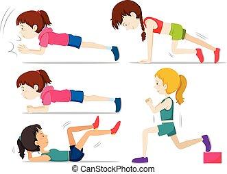 Set of girls doing fitness exercise illustration
