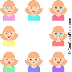 Set of girls faces with different emotions, flat vector illustration