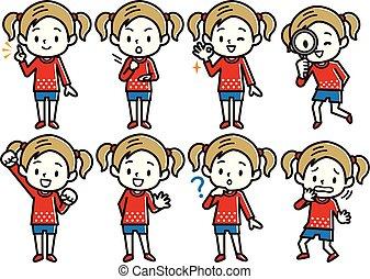 Set of girl's illustration. Blonde boy character.