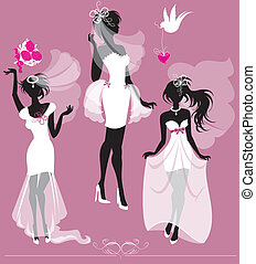 Set of girls silhouettes dressing Wedding gown, shoes and bridal veil on purple background. Design for Wedding invitation card.