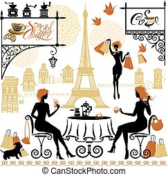 Set of girls silhouettes, Illustration of two young women drinki
