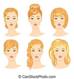 Set of  girls with different hairstyles.