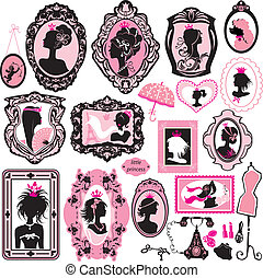 Set of glamour girl portraits - black silhouettes. Princess accessories and furniture.