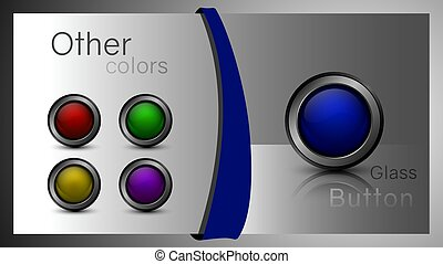 Set of glass buttons for web design.