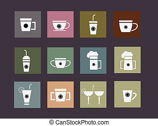 Set of Glass Flat Style icon Vector Illustration