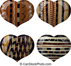Set of glass hearts with African texture inside