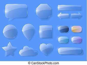 Set of glass icons - A set of glass icons or geometric...