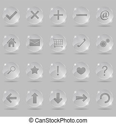 Set of glass icons, vector eps10 illustration