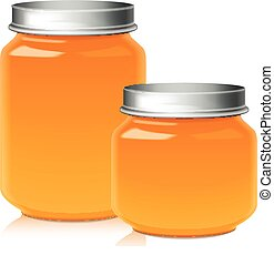 Set of Glass Jar For Honey, Jam, Jelly or Baby Food Puree Mock Up Template