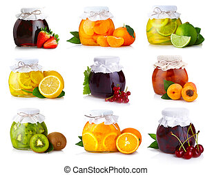Set of glass jars with exotic fruits jam isolated on white