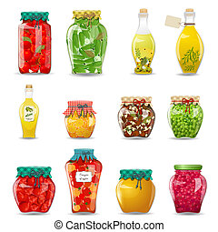 Set of glass jars with preserved vegetables, mushrooms, fruit and honey for your design