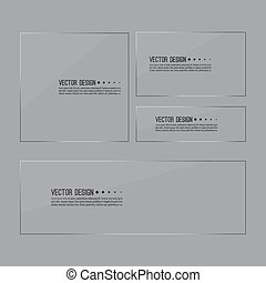 Set of glass panels. Vector transparent glossy banner on...