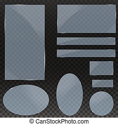 Set of glass plates. Vector glass banners on a transparent background. transparency. for publicity. EPS 10