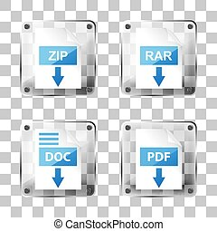set of glass rar, zip, doc and pdf download icons on a squared b