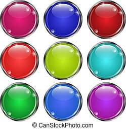 Set of glass round buttonsin in a silver frame. Illustration vector