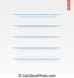 Set of Glass Shelves Vector Isolated on the Wall Background