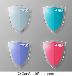 Set of glass shields. Vector illustration.