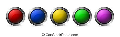 Set of glass vector buttons for web.