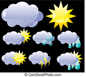Set of glass Weather icons, vector illustration