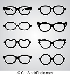 Set of glasses - Set of vector glasses set with black thick...