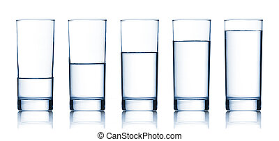 set of glasses filled with water on white background