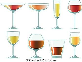 Set of glasses for different drinks. Design elements.
