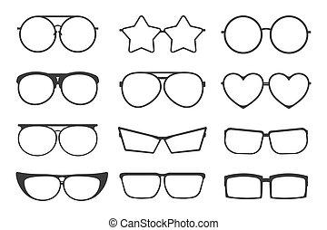 Set of glasses icons