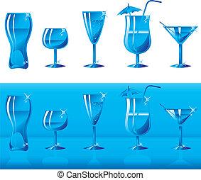Set of glasses in blue