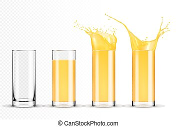 Set of glasses of orange juice
