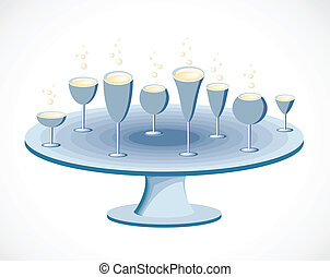 Set of glasses on a table. Vector
