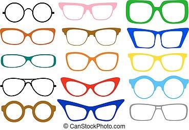 set of glasses - Set of fashionable different modern eye ...
