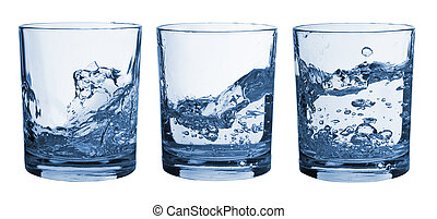 Set of glasses water splash