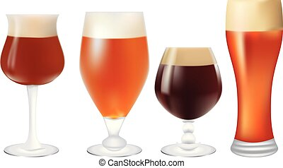 Set of glasses with beer
