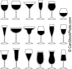 Set of glasses with drink, vector illustration