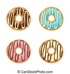 Set of glazed donuts