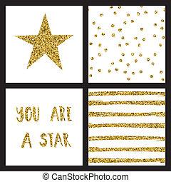 Set of glitter gold design cards with stars. Vector illustration