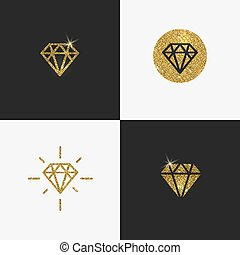 Set of Glitter gold diamond emblems