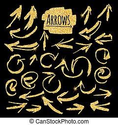 Set of glitter golden arrows