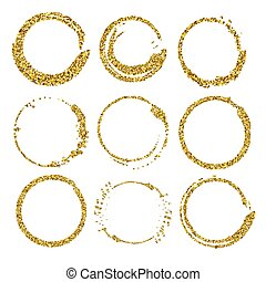 Set of glitter round frames.