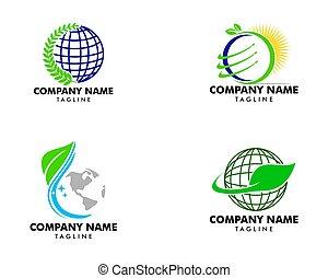Set of Global Nature Logo Design Concept