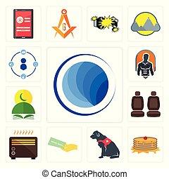 Set of globe, pancake, service dog, money back guarantee, heater, car seat, quran, fitness, tidy icons