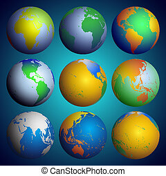 Set of globes, Color world map vector