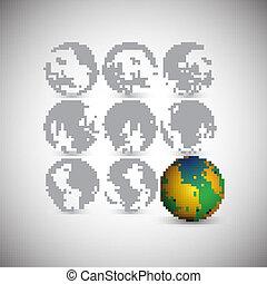 Set of globes, world map vector illustration