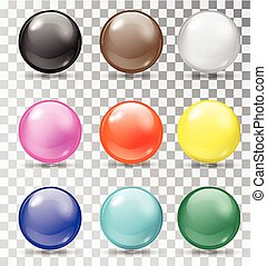 Set of glossy balls on a transparent background